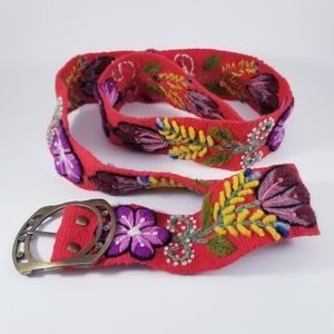Peruvian Wool Floral Embroidered Red Knit Belt